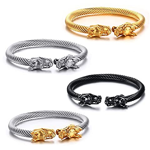 Vnox Mens Stainless Steel Opposite Dragon Head Wire Viking Cuff Bangle Bracelet Silver Gold Black,Pack of
