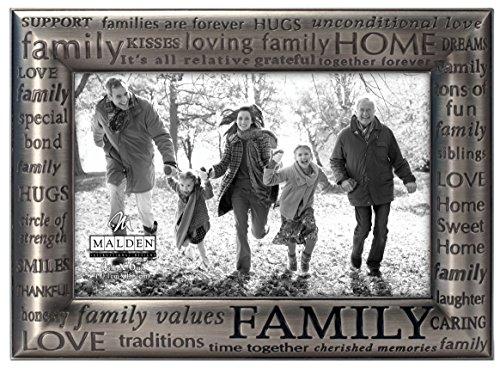 Malden International Designs - moderner Bilderrahmen Family Expressions, Zinn-Metallguss, 10,2 x 15,2 cm, silberfarben (Zinn Bilderrahmen)