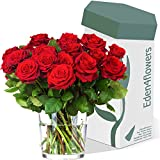 FABULOUS FIFTEEN RED ROSES BOUQUET - Exclusive Fresh Red Roses Bouquets for Love & Romance Anniversary and Valentines Day by Eden4flowers