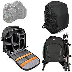 DURAGADGET Sac à dos en Nylon et résistant à l'eau pour appareils photos Nikon D5000, D5100, D3100, D600, D800, D3200, Coolpix L330, D5300, D3300 + protège pluie BONUS