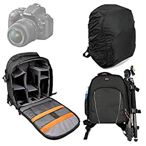 DURAGADGET Portable Water Resistant Black Nylon Rucksack For Nikon D7100, D7000, D5300, D5100, D5000, D3200 & D3100 - With Padded Shoulder Straps and Adjustable Padded Interior