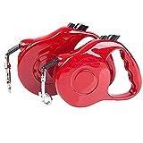 Semoss 5 Metro Correa Nylon Perro Extensible para Pequeñas,Medianas y Grandes Perros,Soporta hasta 50 kg Correa Perro Retractil,Rojo