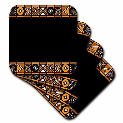 3drose braun und schwarz afrikanischen Muster–Art of Afrika inspiriert von Zulu Wickelarmband Geometrische Designs–Soft Untersetzer, Set von 8(CST _ 76556_ 2)