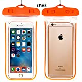 CaseHQ (2Pack) Universal Waterproof Case, IPX8 Waterproof Phone Pouch Dry Bag for iPhone X/8/8plus/7/7plus/6s/6/6s plus Samsung galaxy s8/s7 Google Pixel HTC10 up to 6.0' diagonal (Orange)