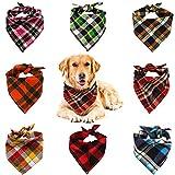 VIPITH Pañuelo para Perro, 8 Unidades, pañuelos a Cuadros, Lavables, Reversibles, Ajustables, Triangulares, Pajaritas para Mascotas y Gatos (Color al Azar)