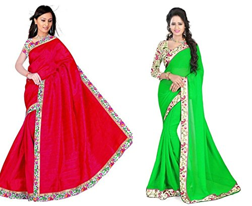 RoopSangam Exclusive Combo Pack Of 2 Sarees With Fancy Border