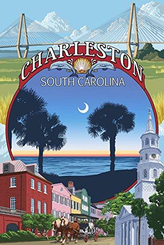 Charleston, South Carolina Town Views, Papier, multi, 9 x 12 Art Print