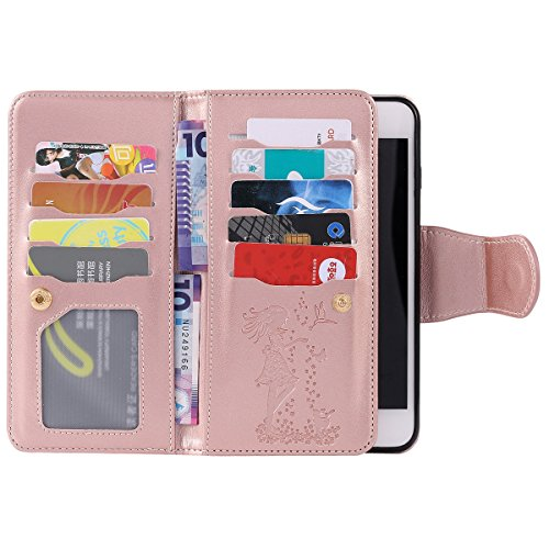 Felfy Hülle für iPhone 7 Plus 5.5 Zoll,iPhone 7 Plus Case,iPhone 7 Plus Ledertasche Case Flip Mappen Kasten 3D Stilvolle Kreative Frau und Katze Design Muster Luxe Case Tasche Geldbeutel PU Leder Book Rosa Golden
