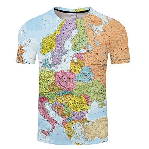 NSDX Herren 3D T-Shirt Weltkarte T-Shirt Druck 3D T-Shirt Harajuku Outfit Tees Top Sommer Stil Lustige Grafik T-Shirt Asiatische Größe 6XL