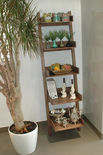 LIZA LINE SCAFFALE DI LEGNO SCALETTA PREMIUM, Mensola Scala, libreria scaffale, stand, Scaffalature per cucina, soggiorno, bagno, camera, officio - 165cm - (Noce Marrone)