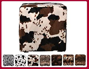 Pouf cube animals 40cmx40cm tissu motif vache brune W020 02