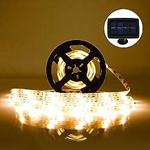 Tira de LED Lámparas Solares RGB 5M 100 LEDs Blanco Cálido Impermeable IP65 con 2 Modos de Sensor de Luz Auto ON/OFF Guirnaldas de Luces Decoración para Navidad Fiestas Bodas Jardines Festivales