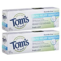 Tom's of Maine Rapid Relief Sensitive Natural Toothpaste Multi Pack, Fresh Mint, 2 Count