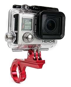 Support et bras DURAGADGET vélo, moto sur guidon pour GoPro HERO5, Hero 5 Session, Hero 4, HERO+ LCD, Hero4 Session (Black & Silver CHDSS-101-EU) Session caméscopes / caméra embarquée tous modèles (Black & Silver, Surf) - rouge