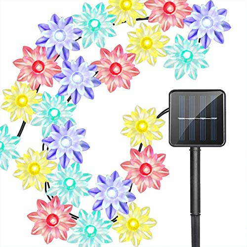 Solar Blume Außenlichterkette,KINGCOO Wasserdicht 23FT 50LED Lotus Blume Solar Lichterketten mit 8 Modus Weihnachtsbeleuchtung für Garten Hochzeit Party Dekoration (Mehrfarbig) -