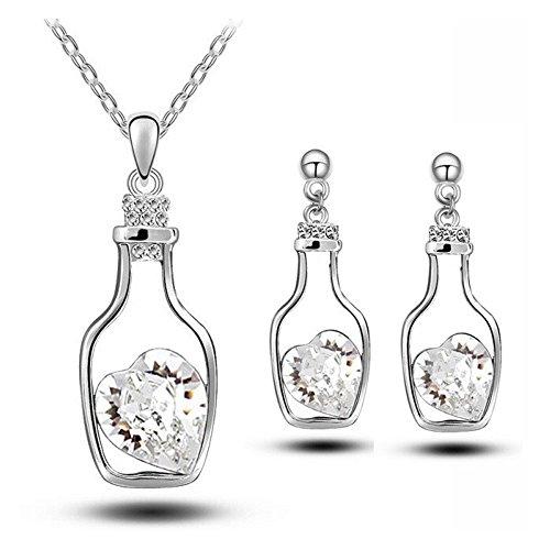 Parure coeur cristal swarovski elements dans une bouteille plaqué or blanc Blanc