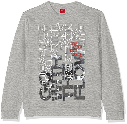 s.Oliver Jungen Sweatshirt 61.709.41.5255 Grau (Grey Melange 9400), 152 (Herstellergröße: M)