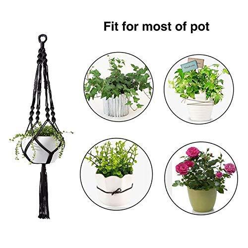 Colgador de plantas Colgadores de plantas de Macramé Colgador de plantas Colgadores de plantas de interior y exterior negros Decoración para el hogar (paquete de 2)