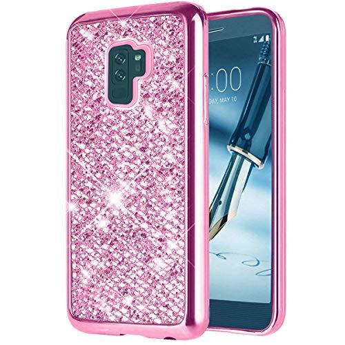 LCHULLE Purpurina Funda Samsung Galaxy S6 Carcasa Brillante TPU Silicona Antigolpes Cuierta Protectora Delgada [Protección a Pantalla y Cámara] para Samsung Galaxy S6,Rosa