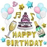 Geburtstagsdeko, Geburtstag Dekoration Set Kindergeburtstag, 20 Stücks Luftballons Blaues weißes Rosa +Happy Birthday Buchstaben + Stern Folienballon +Band+ Weinglas Weinflasche Ballons