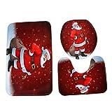 Badematten Set Clode® Home Weihnachten WC Fußpolster Sitzbezug Heizkörper Cap Bad Sets (D)