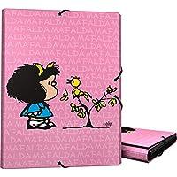 Grafoplás 82401949-Carpeta 3 solapas tamaño folio y cierre con goma elástica, Diseño Mafalda Pajarito