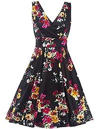DaBag - V-cuello vestido de halter sin mangas vestido de impresión mujeres vestido de