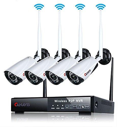 4 Channel 720p WLAN Überwachungskamera Aussen 960P NVR Überwachungskamera Set IP66 Bullet Camera Night Vision Motion Detection for Indoor Outdoor (No Harter Fahre) (Motion-detection-kamera-set)