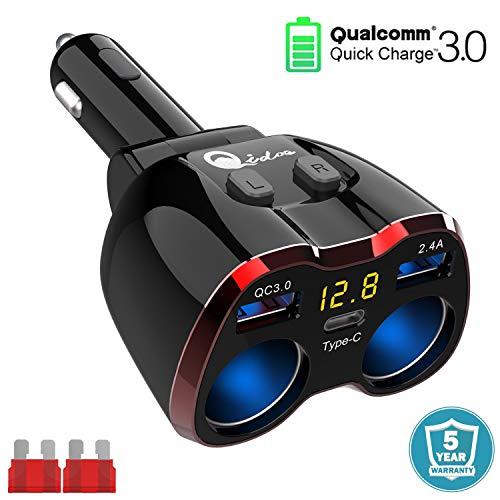 QC 3.0 Zigarettenanzünder Verteiler USB C, 12V/24V Typ C Auto Adapter Mehrfach Splitter 2 Steckdose KFZ Ladegerät DC 80W mit Voltmeter Schalter Dual USB Anschlüsse für Handy Tablet GPS Dash Kamera