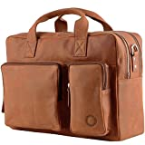 Messenger bag Aktentasche Schultertasche Umhängetasche DIN-A4 Laptoptasche 15,6 Henkeltasche Echt Leder braun