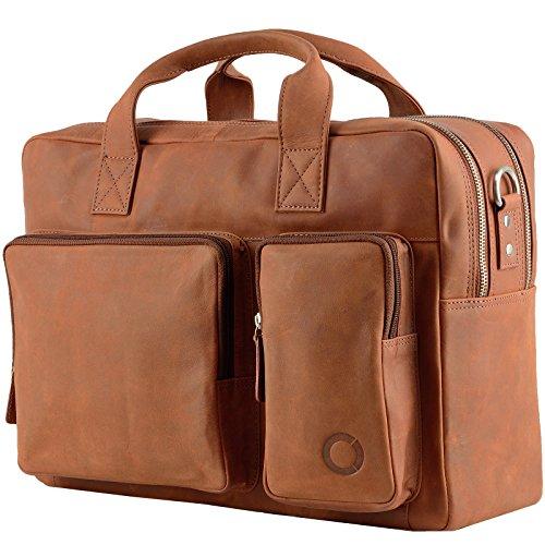 Messenger bag Aktentasche Schultertasche Umhängetasche DIN-A4 Laptoptasche 15,6 Henkeltasche Echt Leder braun (Leder Braun Messenger)