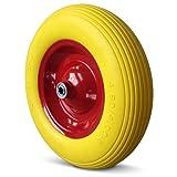 Deuba PU Schubkarrenrad | pannensicher | Vollgummi | 4.80/4.00-8 | Ø 390mm | 200 kg | inkl. Achse | Ersatzrad Reifen