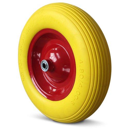 Deuba PU Schubkarrenrad | pannensicher | Vollgummi | 4.80/4.00-8 | Ø 390mm | 200 kg | inkl. Achse | Ersatzrad Reifen Pu-4