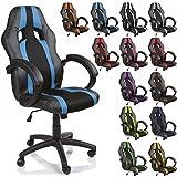 TRESKO Silla de oficina Racing silla de escritorio ordenador giratoria disponible en 14 colores, bicolor, silla Gaming ergonómica, pistón de gas certificado por SGS, adecuada para niños mayores (Negro / Azul claro)