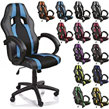 TRESKO Silla de oficina Racing silla de escritorio ordenador giratoria disponible en 14 colores, bicolor