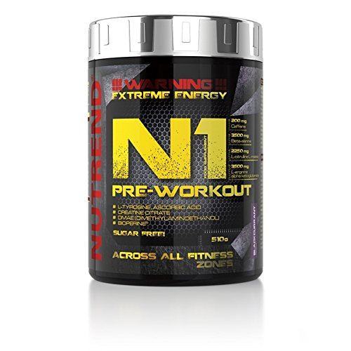 Pre-Entreno Nutrend N1 Shot 510g Red Orange Flavor professional Body Stimulant than the instant form of pre-workout promote muscle pumping Beta-alanine, AAKG Taurine Glucuronolactone Guarana Caffeine Choline DMAE