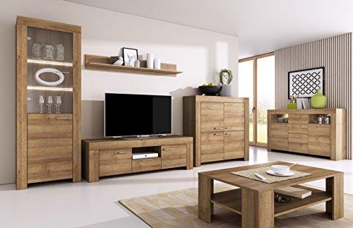 mb-moebel Moderne Wohnwänd Wohnzimmer Möbel Schrankwand mit LED Los SET1