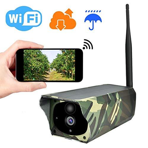 Solar Überwachungskamera, Solar Wireless WIFI IP Kamera, Outdoor Waterproof 1080P HD Kamera, Nachtsicht, Bewegungserkennung, PIR Alarm(AKKUS NICHT ENTHALTEN)