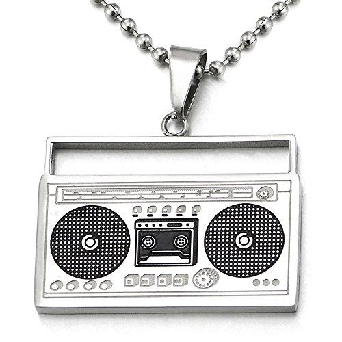 COOLSTEELANDBEYOND Unisex Plata Negro Reproductor de Cassette Colgante, Collar de Hombre Mujer, Acero Inoxidable, Bola Cadena 75CM