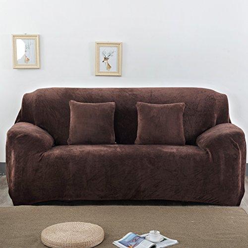 Dick Sofa umfasst 1/2/3/4-Sitzer-Pure Color Sofa Displayschutzfolie Samt Easy Fit elastischer Stoff Stretch Couch Bettüberwurf, coffee, 2 Seater:145-185cm (Sicher Fit Sessel Schonbezug)