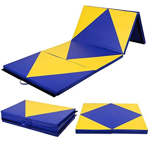 COSTWAY Weichbodenmatte Turnmatte Gymnastikmatte Yogamatte Fitnessmatte Klappmatte 4 x Klappbar 300 x 120 x 5 cm
