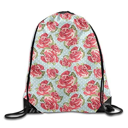 Flower Essential Tote Bag (Setyserytu Sporttasche mit Kordelzug, Sportrucksack, Reiserucksack, Gym Drawstring Bags Roses Pattern Flower Draw Rope Shopping Travel Backpack Tote Student Camping Beam)