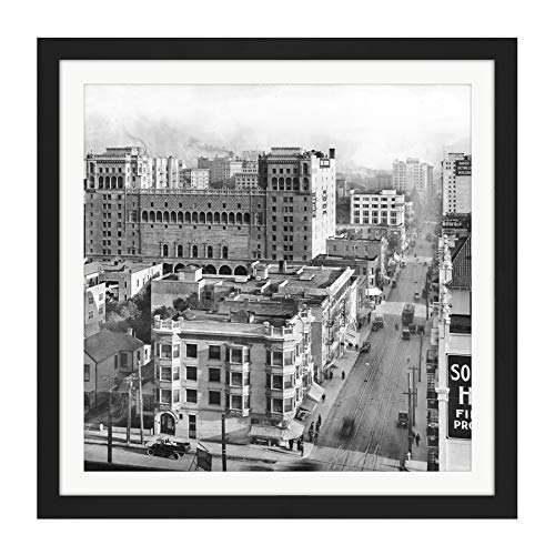 Los Angeles Sixth Street Figueroa Flower 1916 Photo Square Wooden Framed Wall Art Print Picture 16X16 Inch Straße Blume Fotografieren Holz Wand Bild -