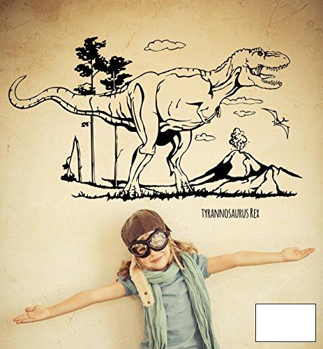 (Wandtattoo Wandaufkleber Dino Saurier Dinosaurier T-Rex Tyrannosaurus Rex M1594 - ausgewählte Farbe: *Weiß* - ausgewählte Größe: L - 120cm breit x 73cm hoch)