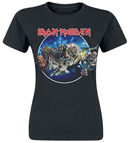 Iron Maiden Wasted Years Circle Girl-Shirt Schwarz Schwarz