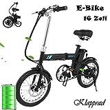 Qulista 16 Zoll E-Bike Umweltfreundlich Klapprad Max. 24km/h Elektrofahrrad, Li-Ion Akku mit 6Ah Elektro Klapprad 36V 250W mit LED-Instrument (Batteriestandsanzeige) (Schwarz)