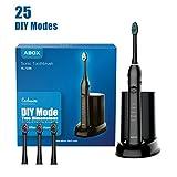 Elektrische Zahnbürste ABOX DIY Schallzahnbürste Tiefenreinigung mit 5 Reinigungs-Modi(DIY Modi) mit UV-Reinigungsgerät,3 Aufsteckbürsten und Reiseetuis Wasserdicht IPX7 Schwarz(RLT236)