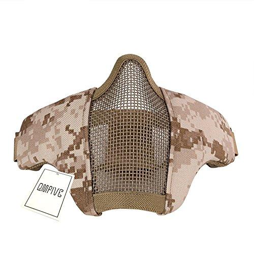 Kinder Desert Digital Camo (Tactical Maske,QMFIVE Stahl Halbmaske und verstellbare elastische Band Faltbare Half Face Maske Schutzmaske Maske für Airsoft Paintball CS(Desert Digital (AOR1)))