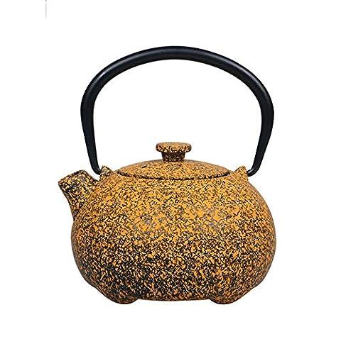 Japanese Cast Iron Teapot Uncoated Pig Quadruped Shape Boiled Water Tea 400ML , stars iron pot (400ml)
