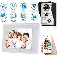 "OWSOO Videoportero Timbre Intercomunicador Wifi(1000TVL Cámara de Vigilancia, 7"" TFT LCD Monitor, IR-CUT, 2-Vías de Audio, Acceso Remoto en APP Android/iOS, Video Visual)"